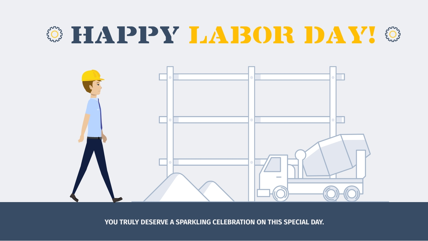 Labor Day Construction Animated Wide Template