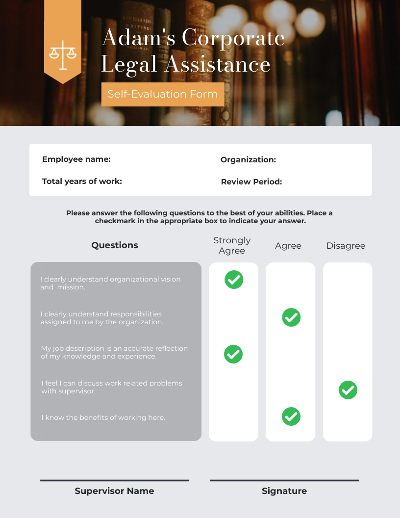 Lawyer Performance Review Template
