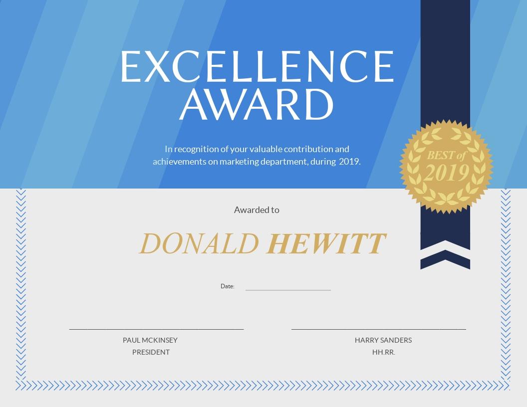 Marketing Department Achievement - Certificate Template