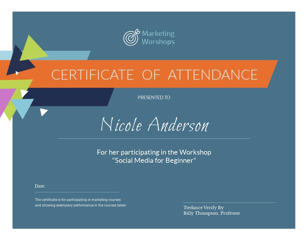 Marketing Workshop - Certificate Template
