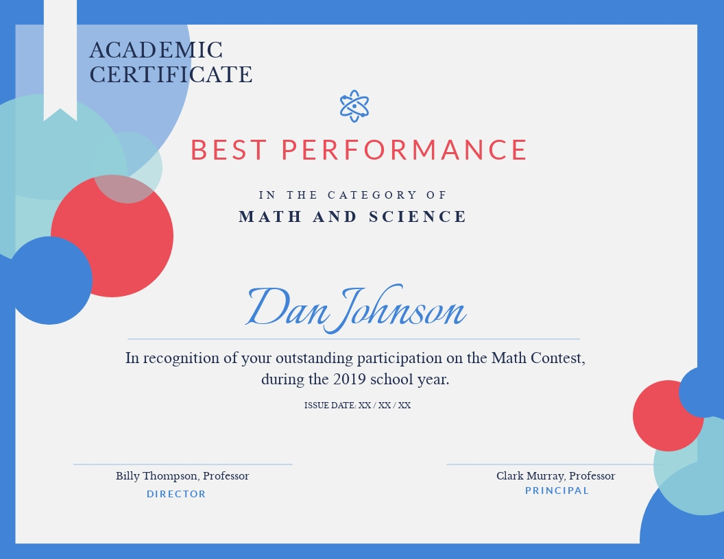 Math Contest Participation - Certificate Template