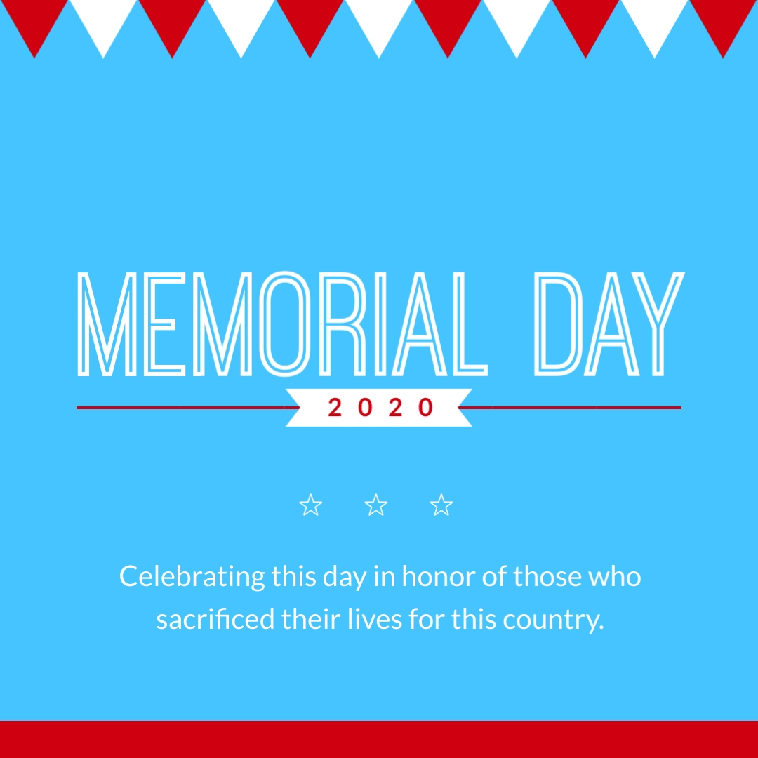 Memorial Day Flag Decoration Animated Square Template
