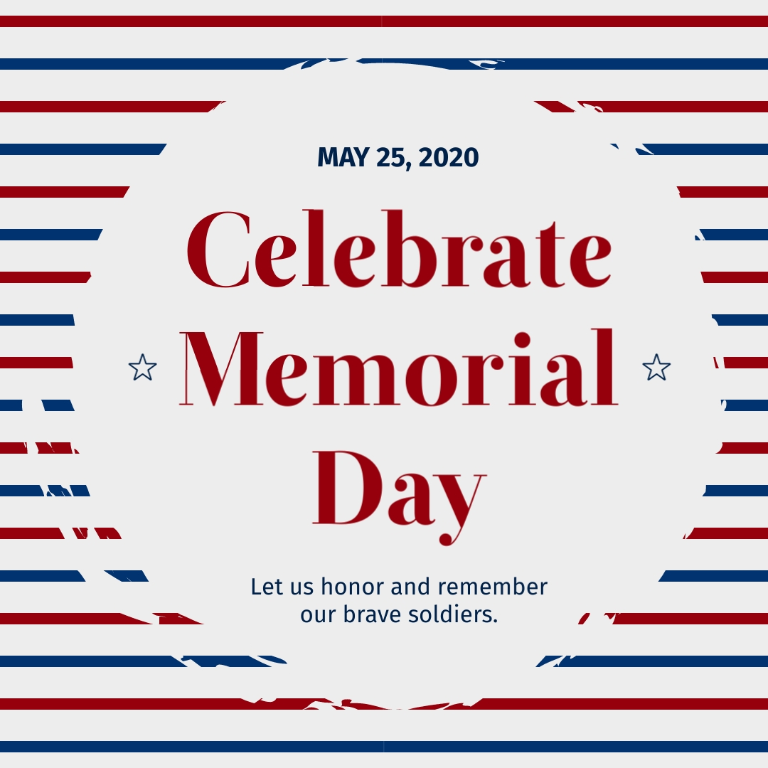 Memorial Day Stripes Animated Square Template