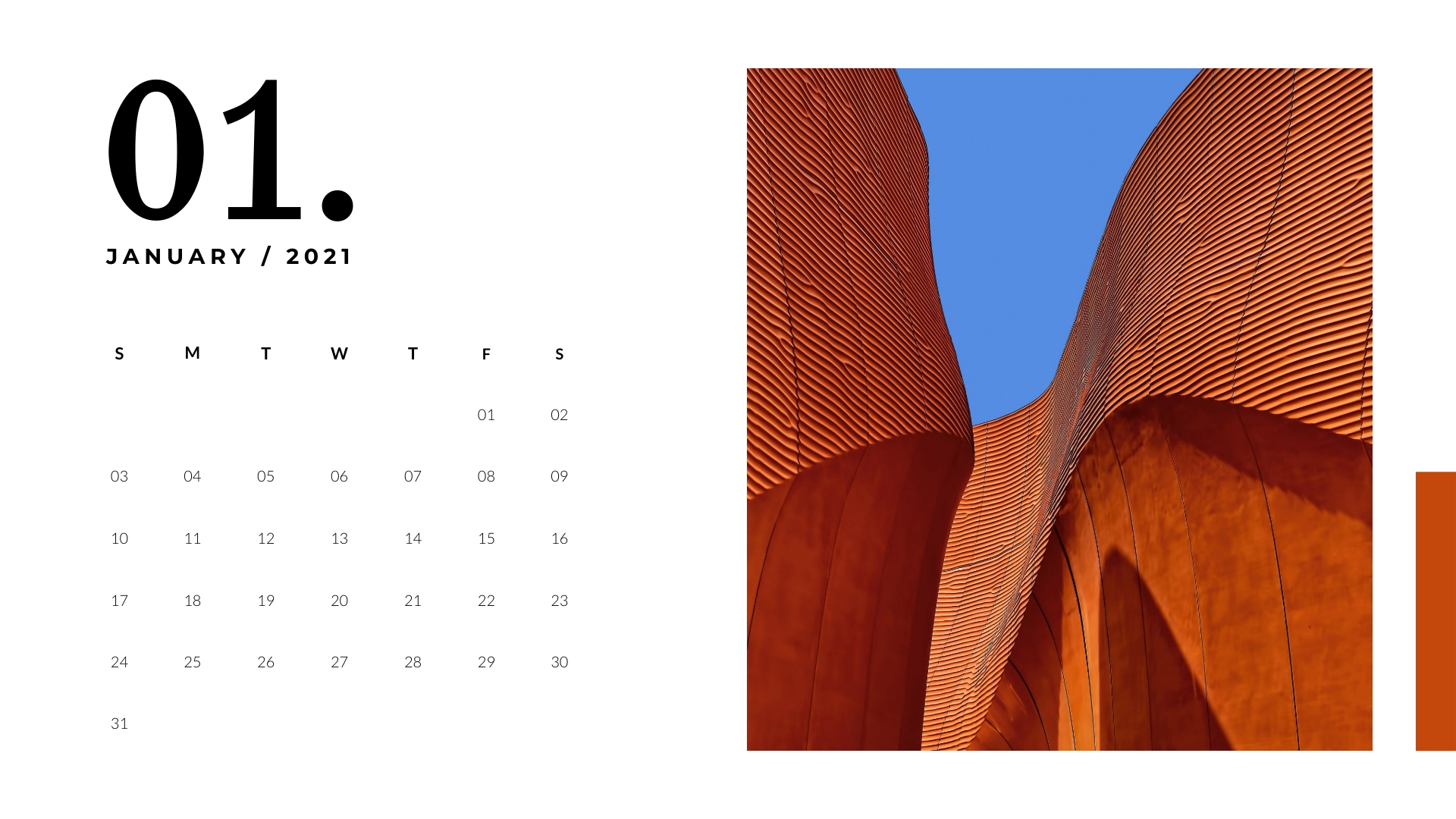 Modern Architecture Yearly Calendar Template