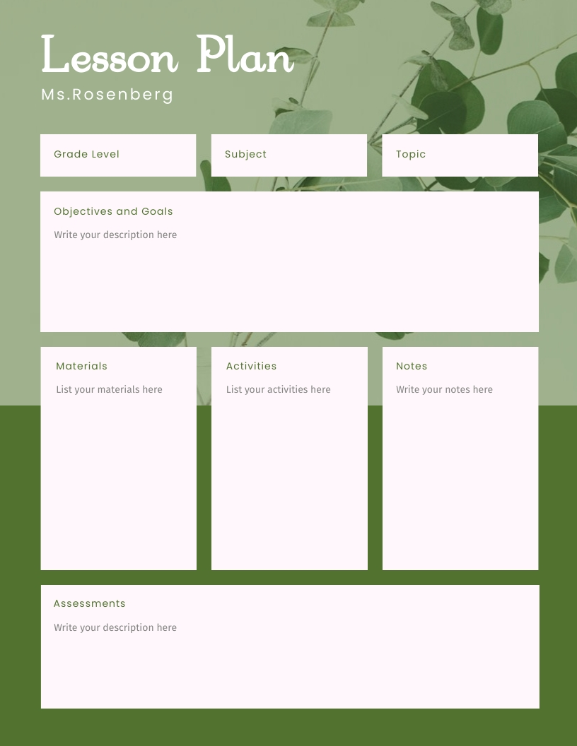 Modern and Clean - Lesson Plan Template