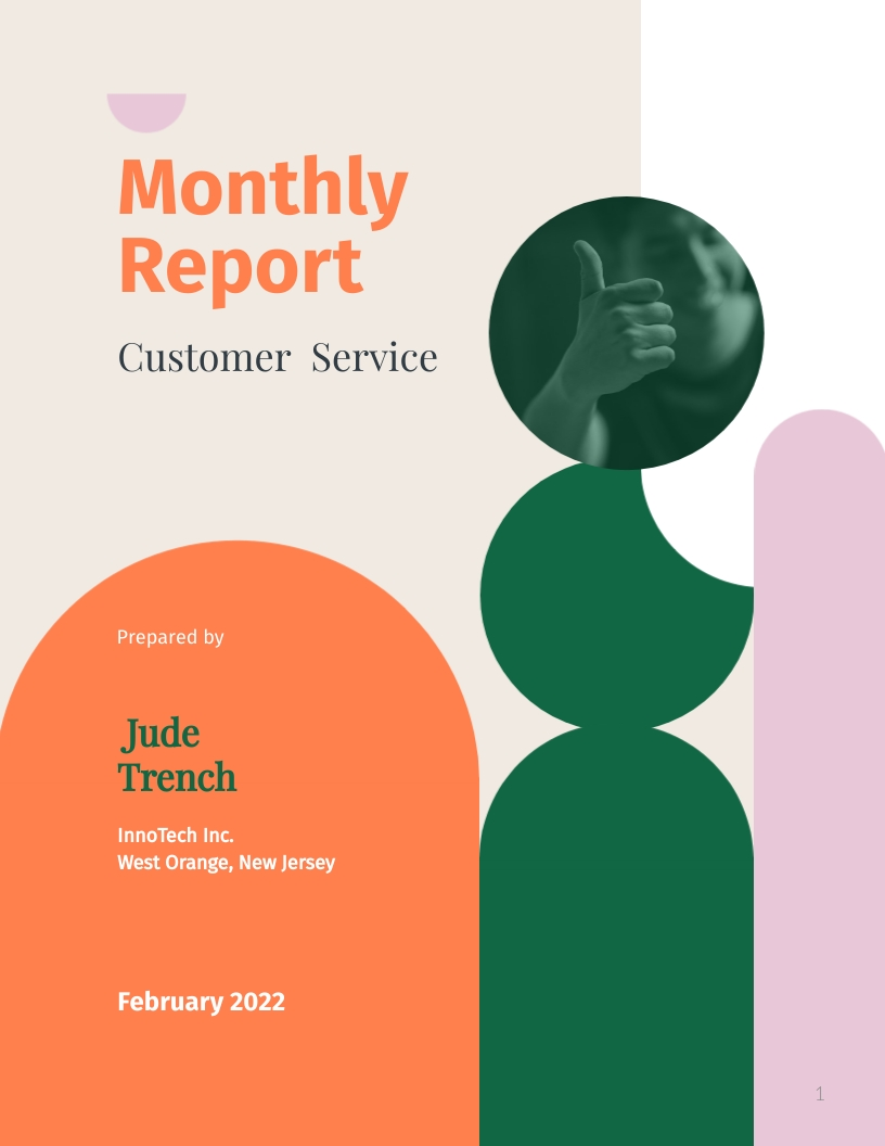 Monthly Customer Service Report Template