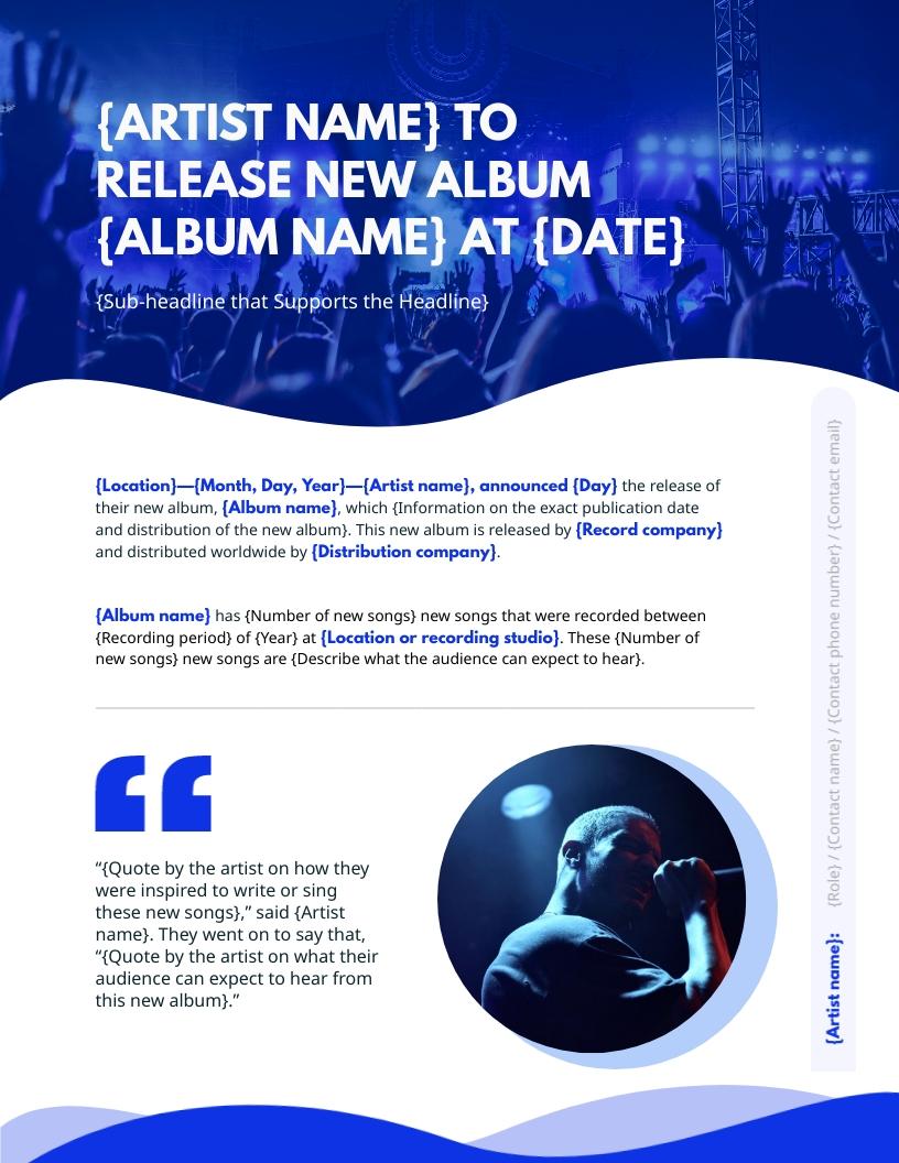 Music - Press Release Template