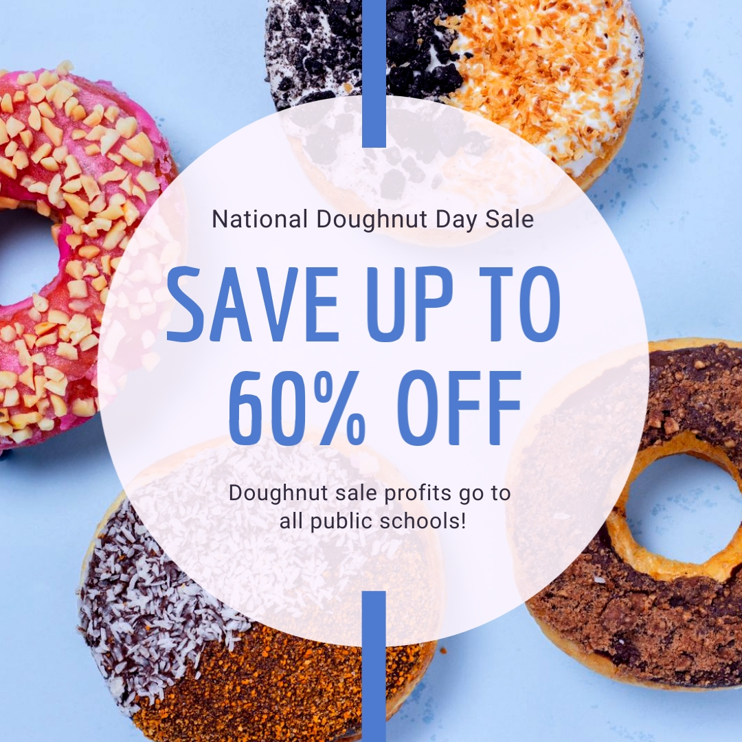 National Doughnut Day Sale Square Template