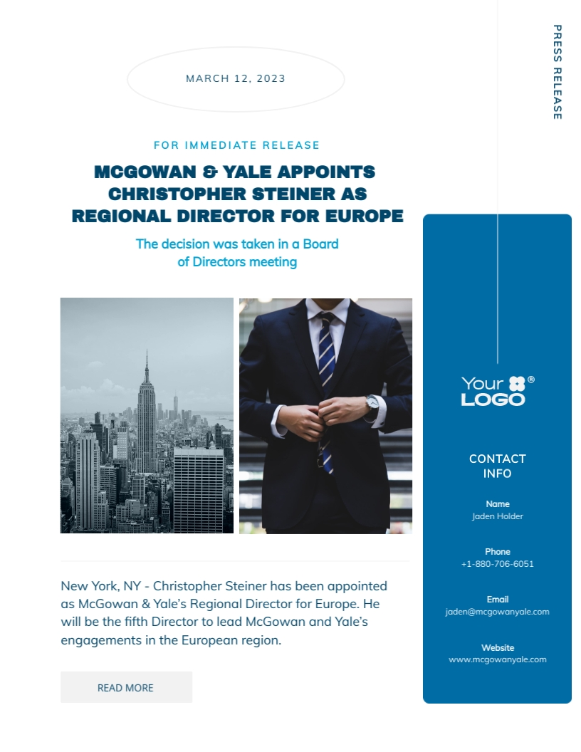 New CEO - Press Release Template