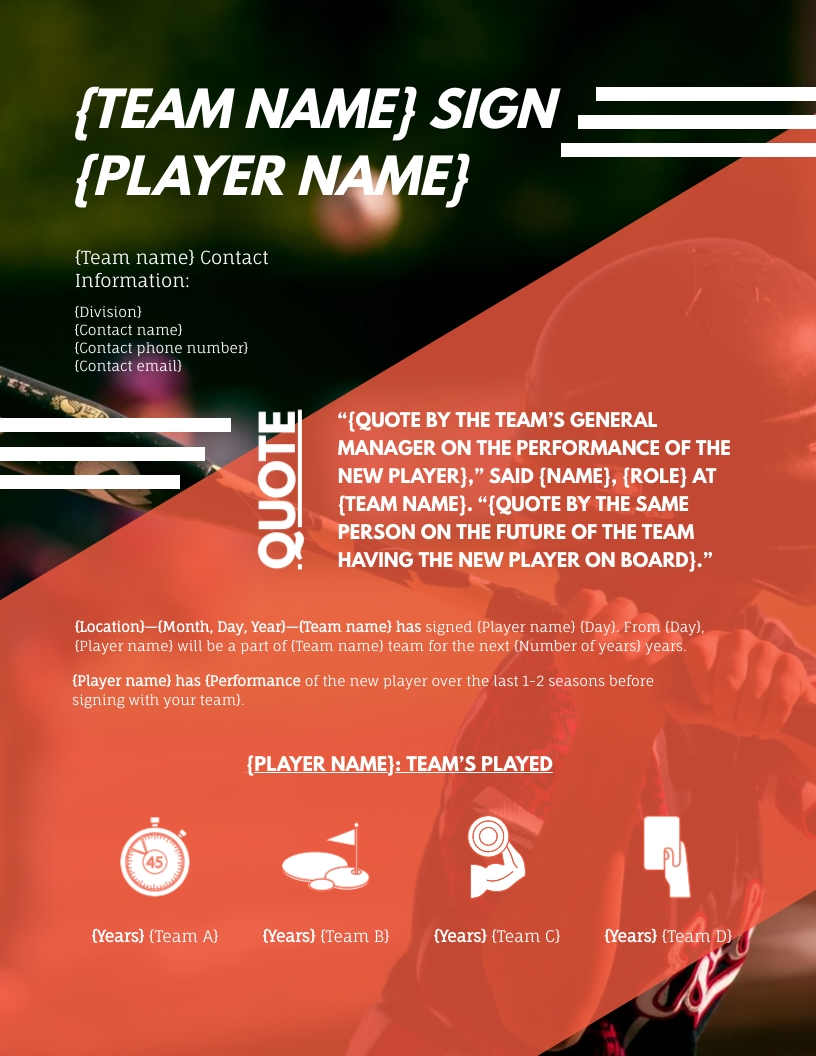 New Player Announcement - Press Release Template