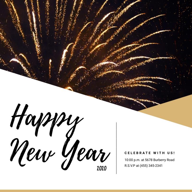 New Year Fireworks Blog Graphic Medium  Template