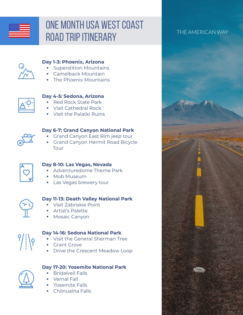 One Month Travel Itinerary Template