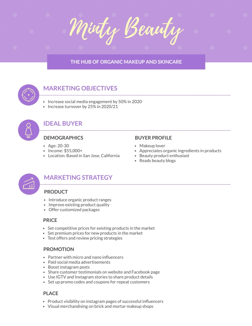One Page - Marketing Plan Template