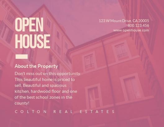 Open House - Postcard Template