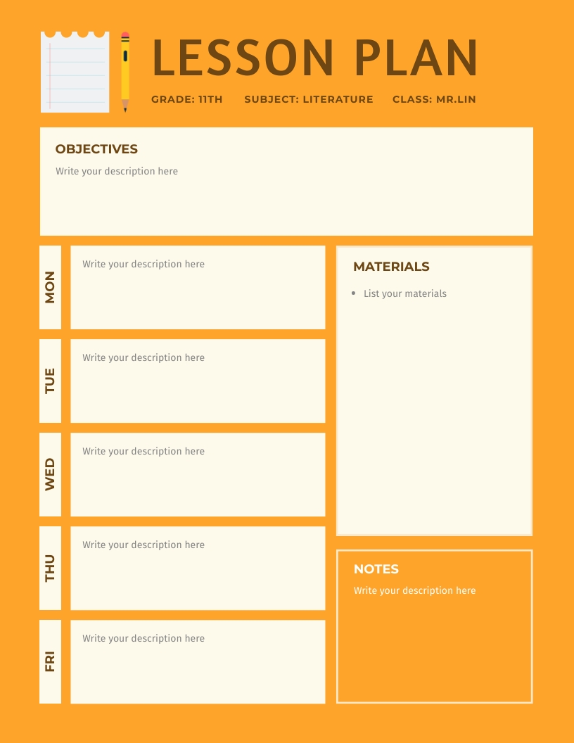 Orange Tone - Lesson Plan Template