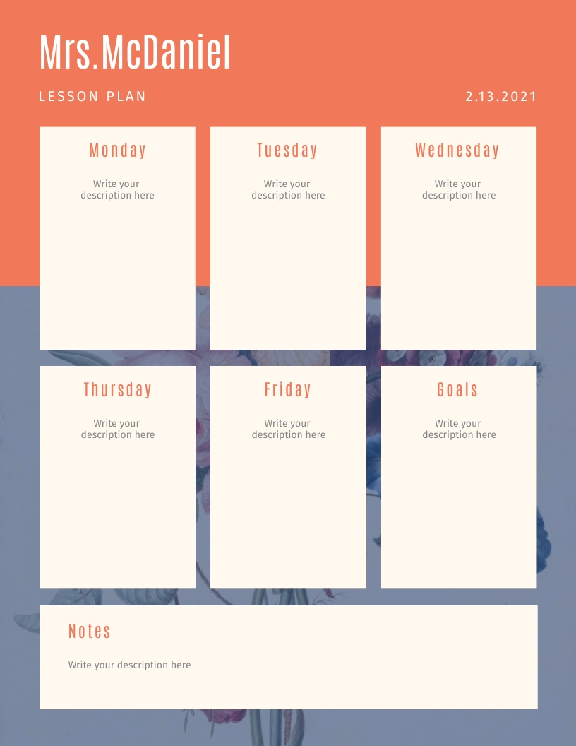 Floral Orange and Blue - Lesson Plan Template