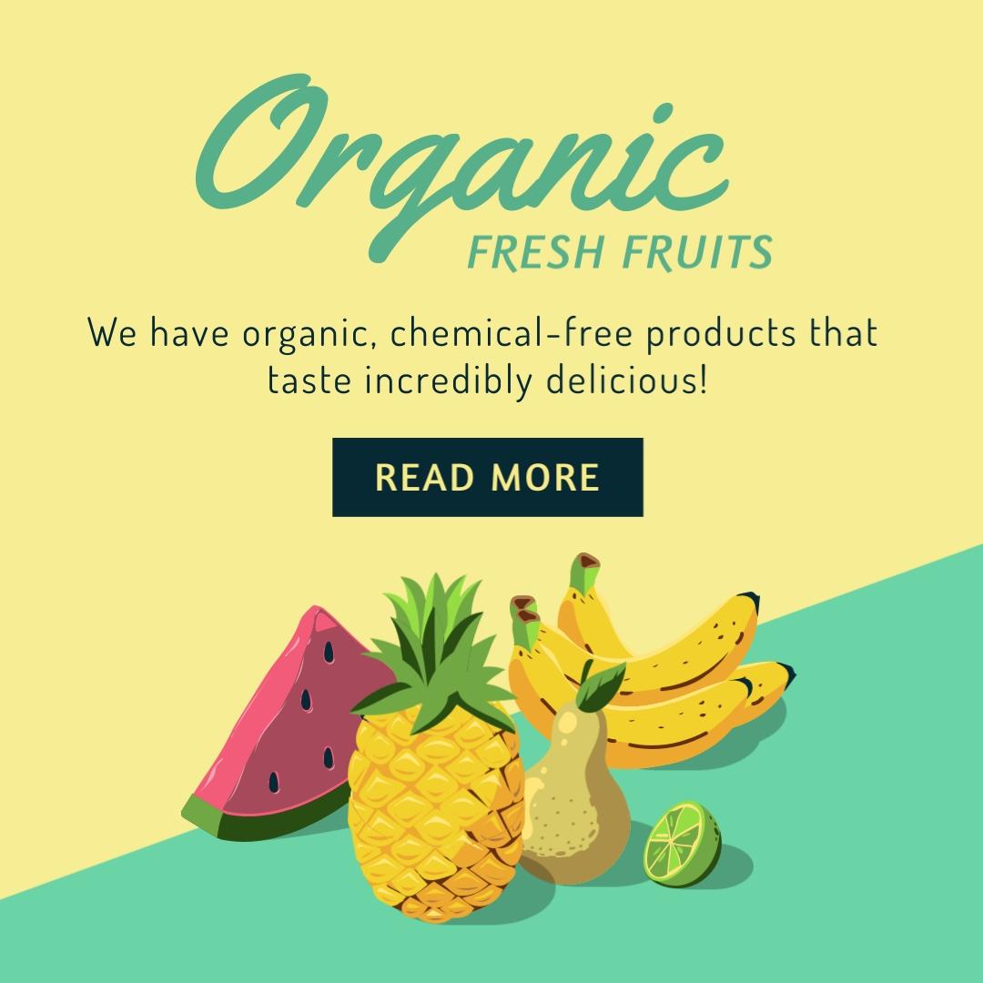 Organic Fresh Fruits Square Template