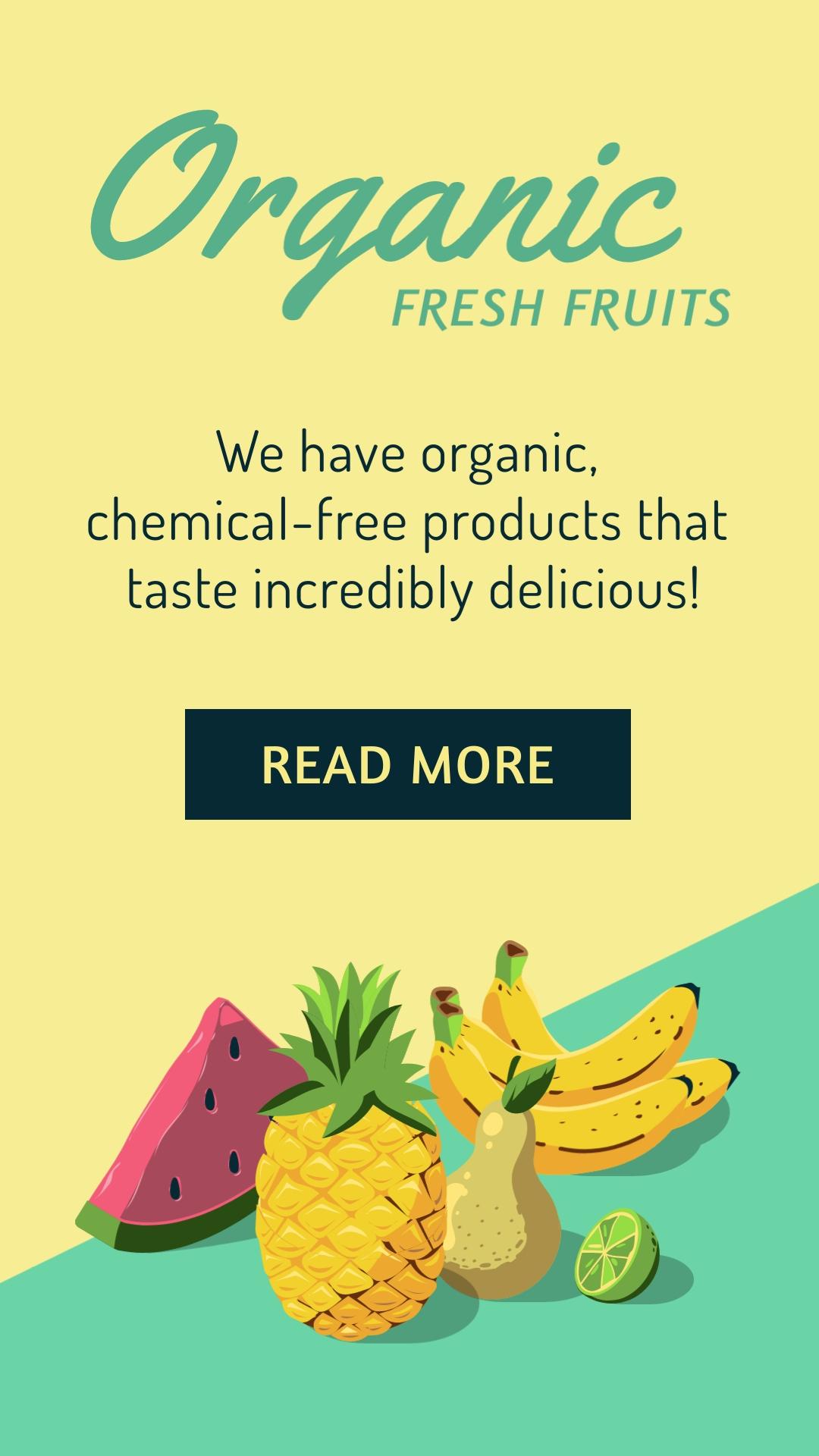 Organic Fresh Fruits Vertical Template