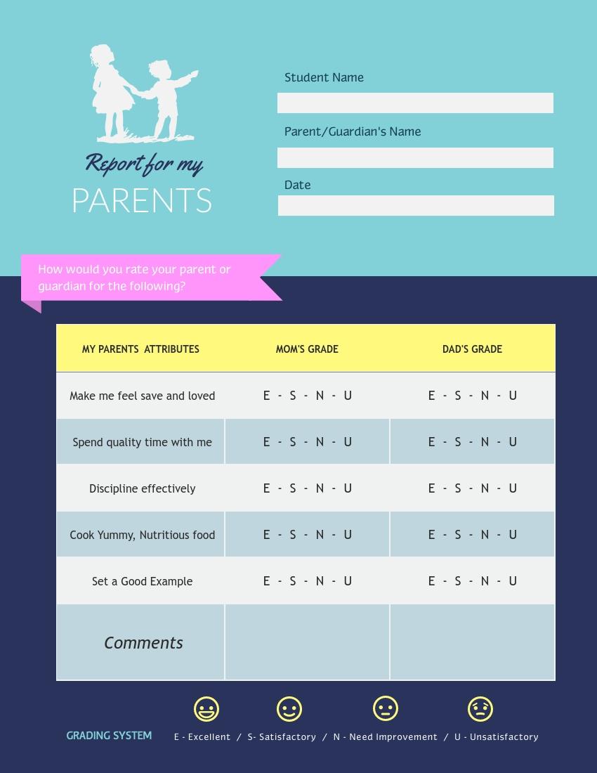 Parents Report Card Template