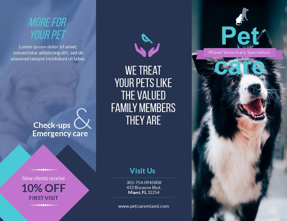 Pet Care - Trifold Brochure Template
