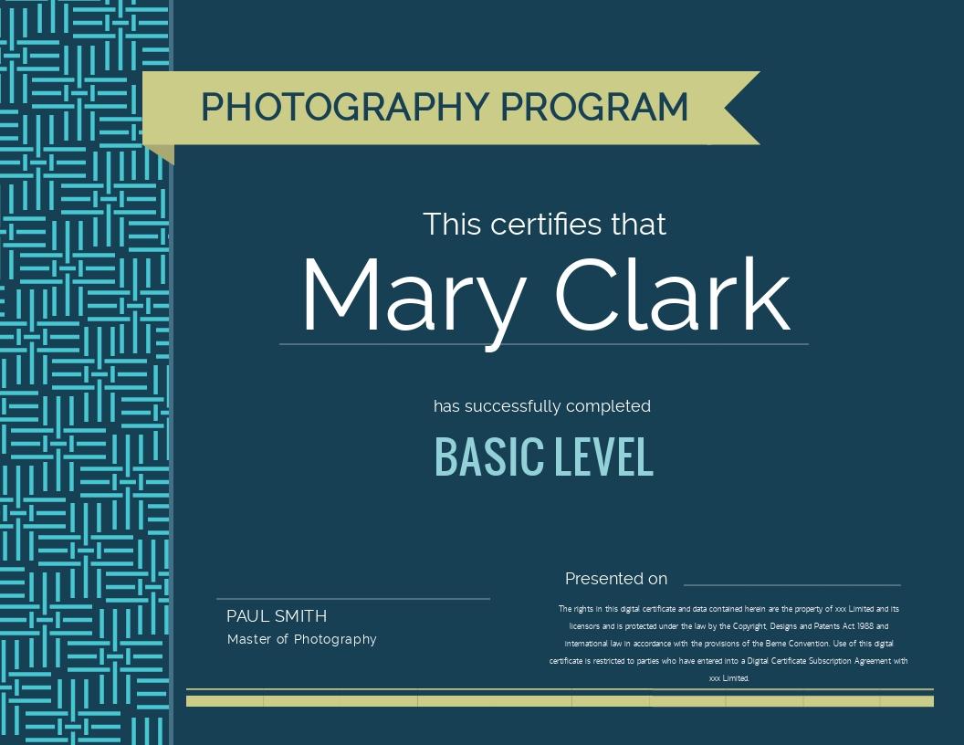 Photography Program - Certificate Template