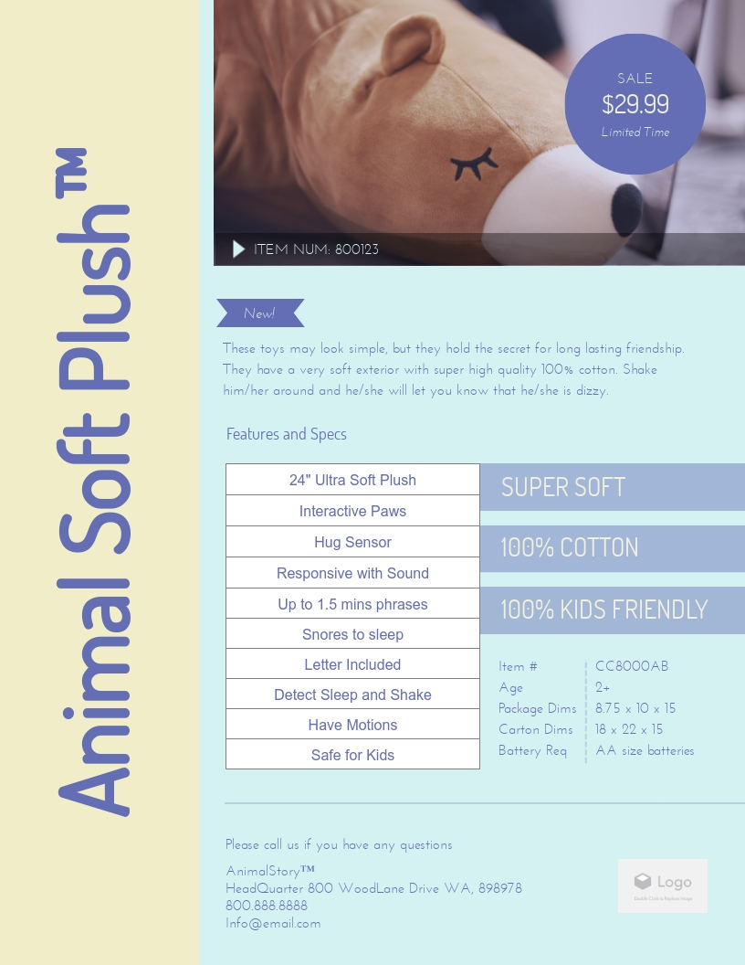 Plush - Product Sell Sheet Template