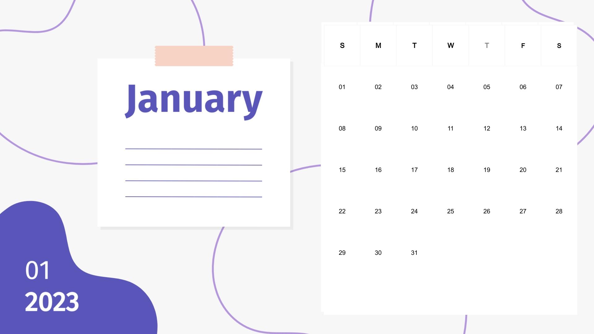 Post It - Calendar Template