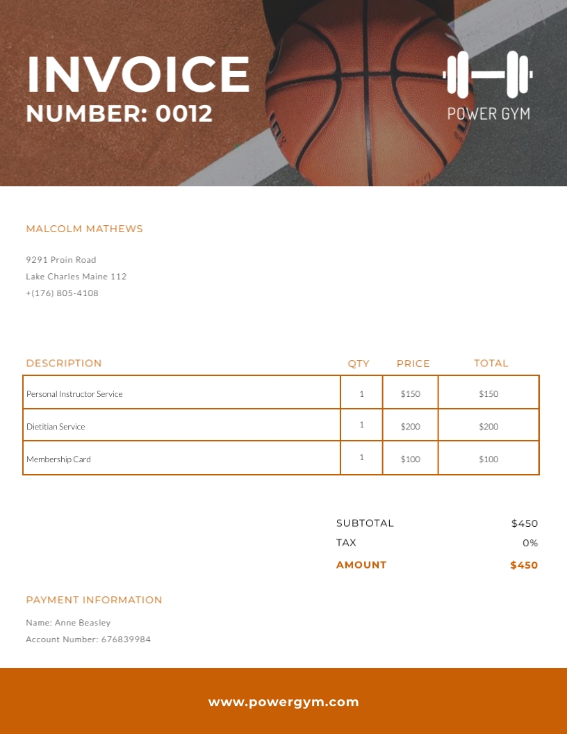 Power Gym - Invoice Template