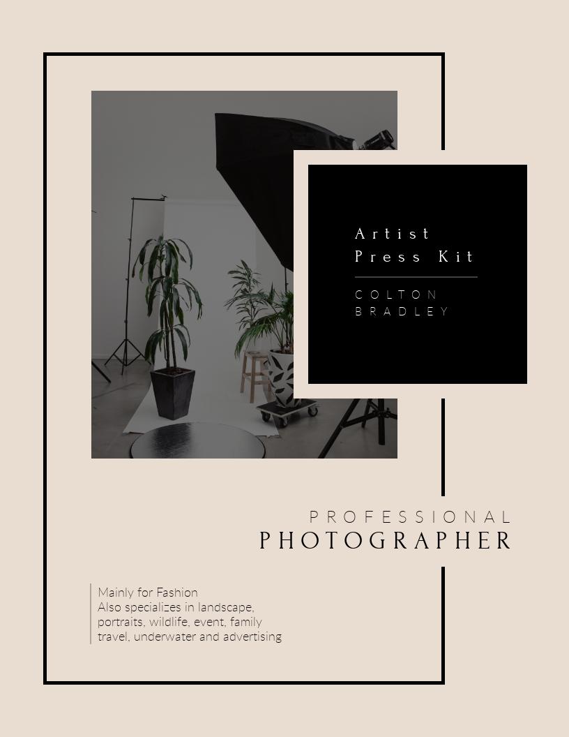 Professional Photography Artist - Press Kit  Template