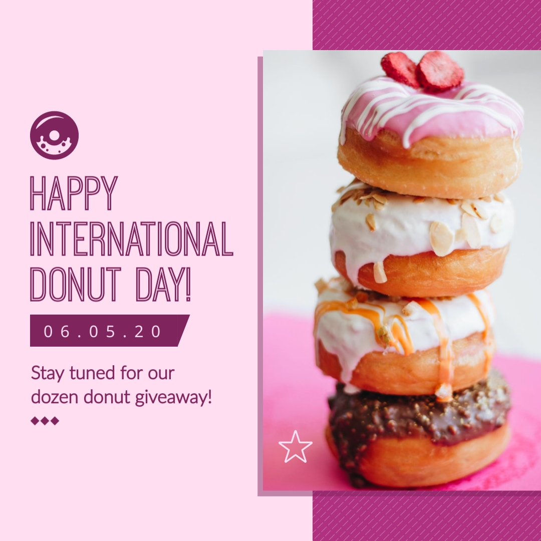 Purple Donut Day Giveaway - Instagram Post Template