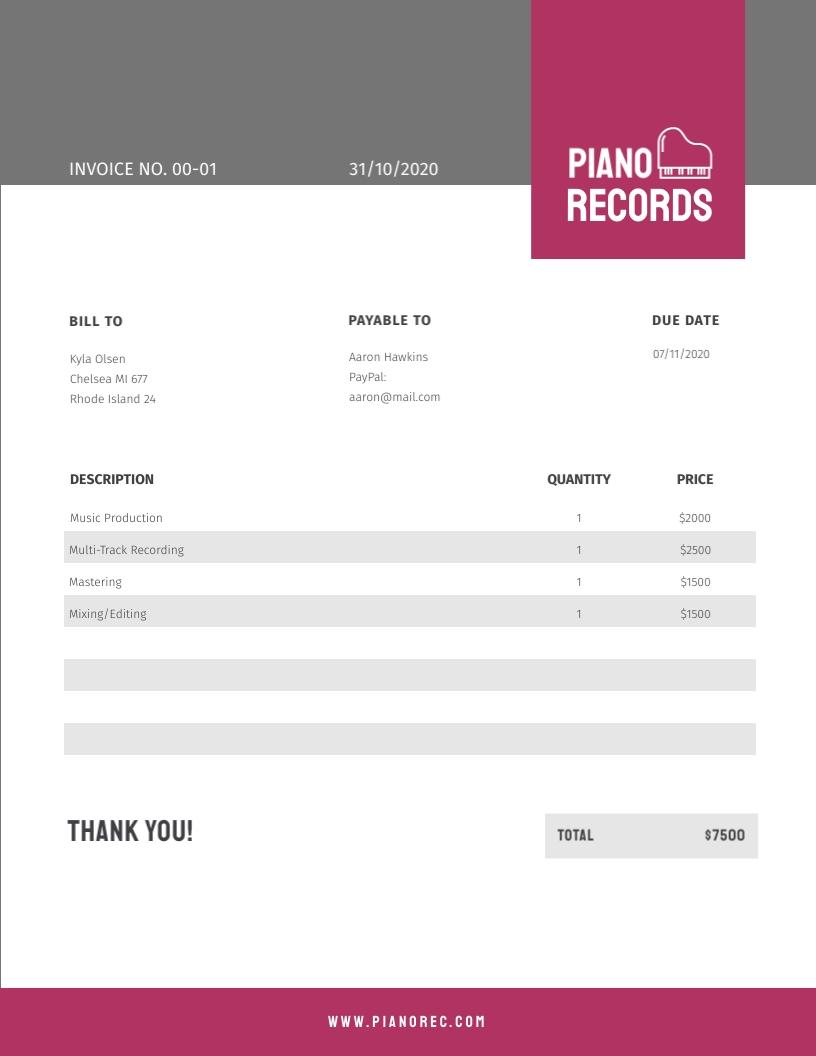 Recording Label - Invoice Template