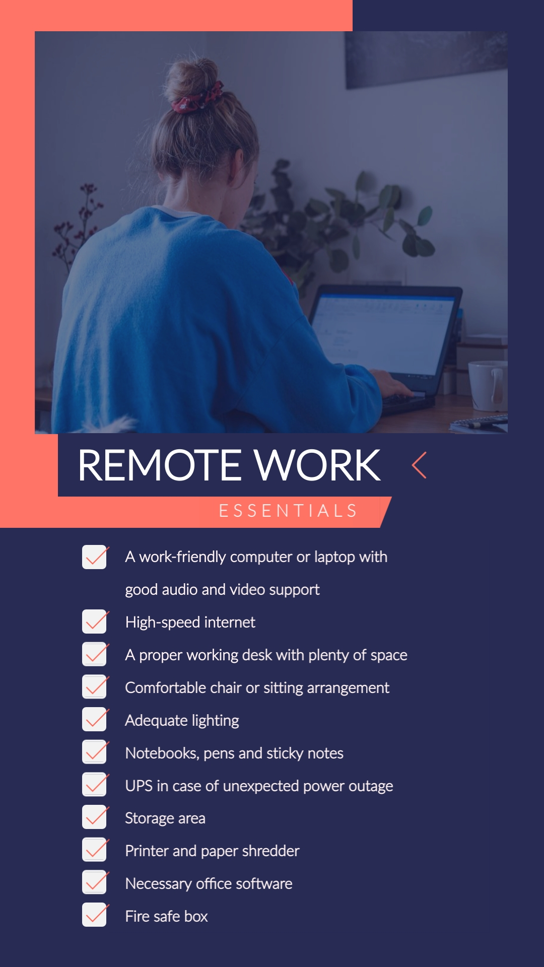 Remote Work Tips Animated Vertical Template