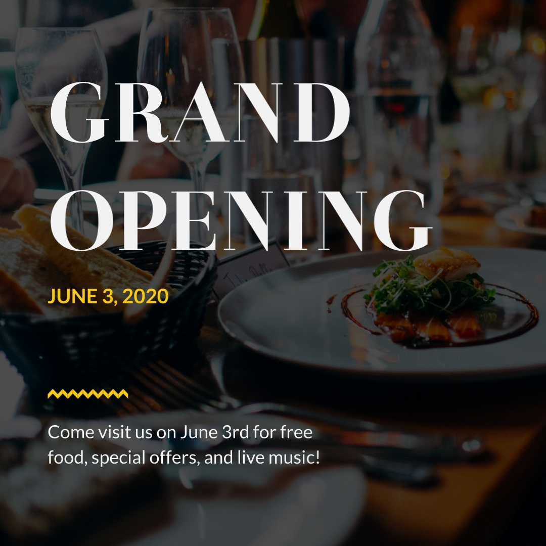 Restaurant Grand Opening Animated Square Template