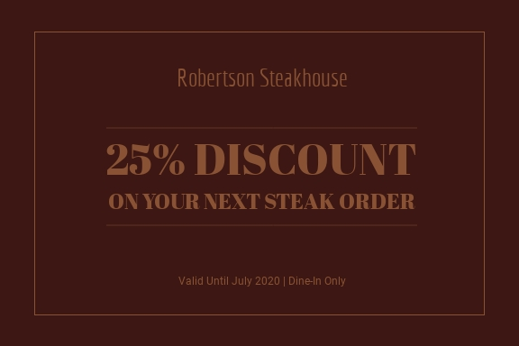 Robertson Steakhouse Discount - Gift Certificate Template