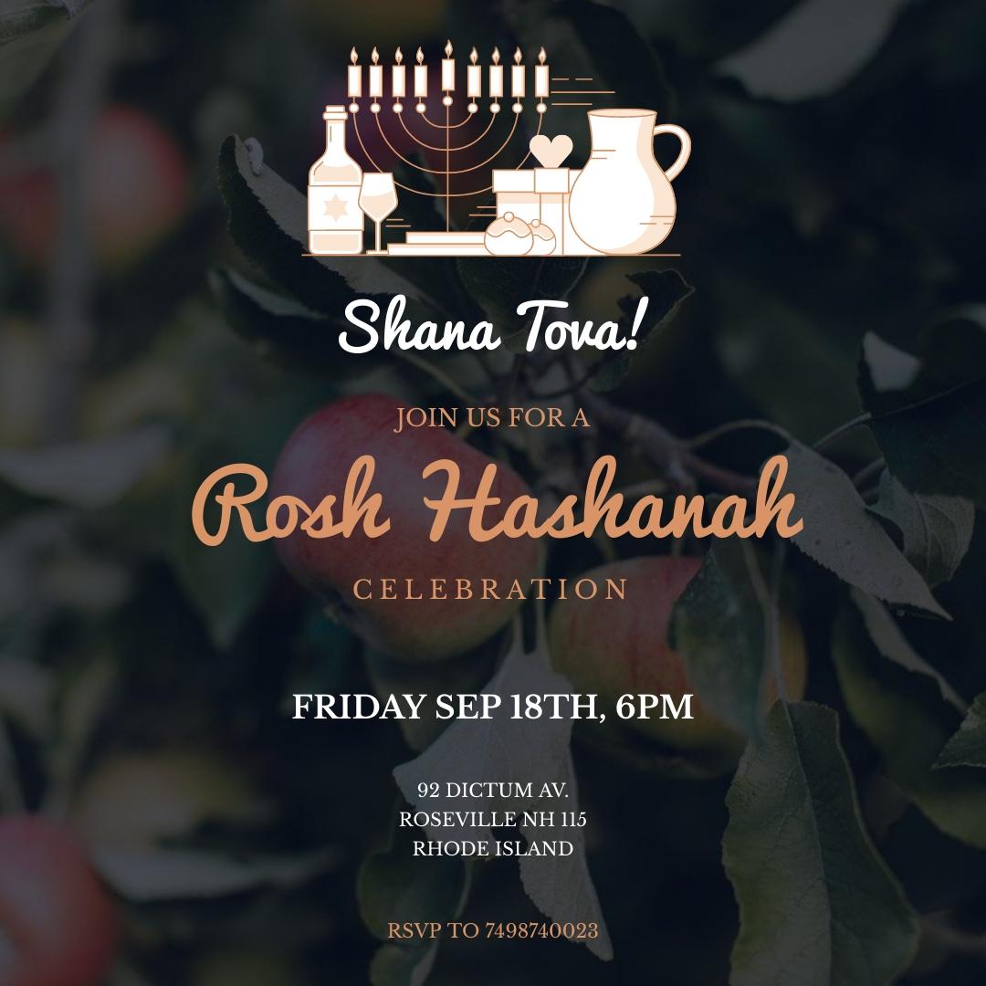 Rosh Hashanah Invitation Animated Square Template