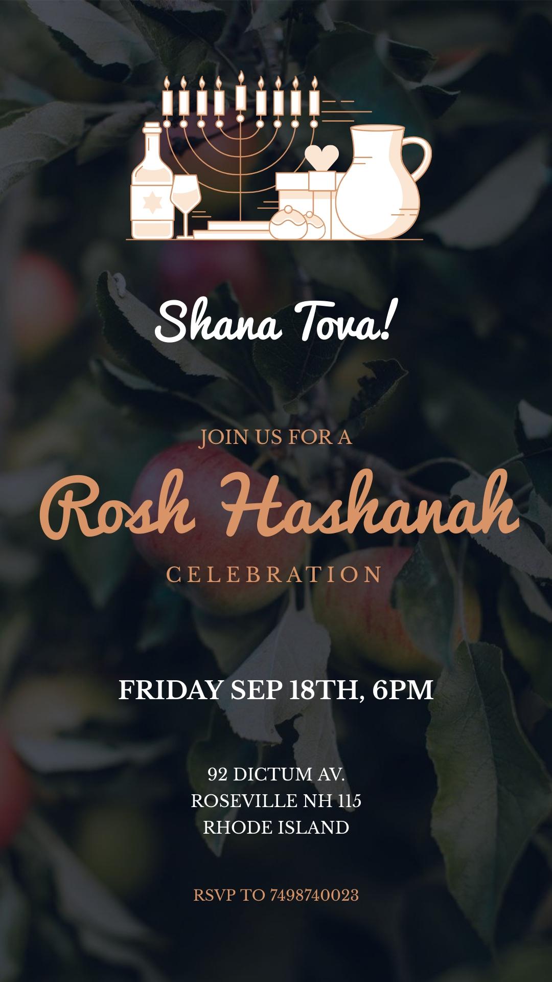 Rosh Hashanah Invitation Animated Vertical Template
