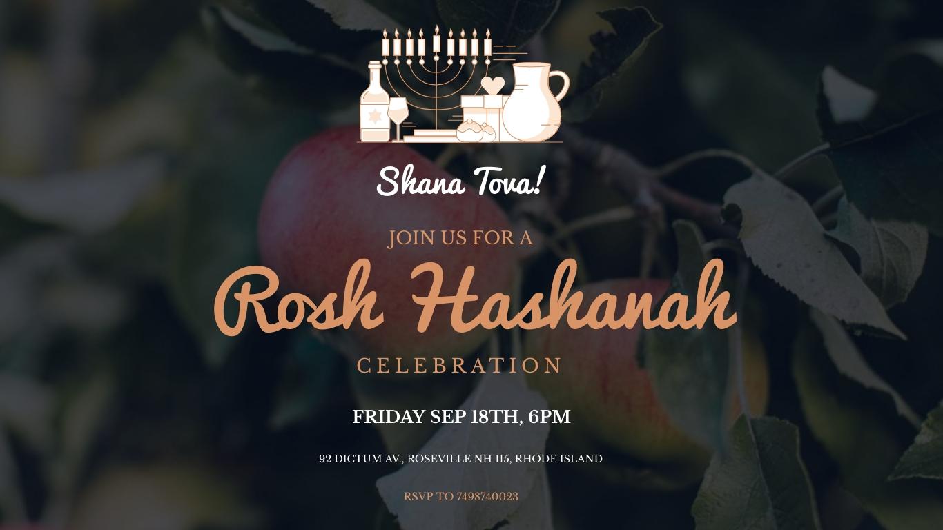 Rosh Hashanah Invitation Animated Wide Template