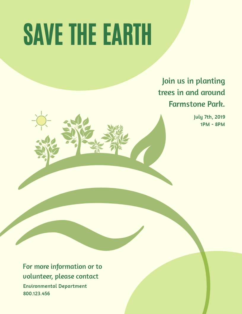 save the earth flyer template
