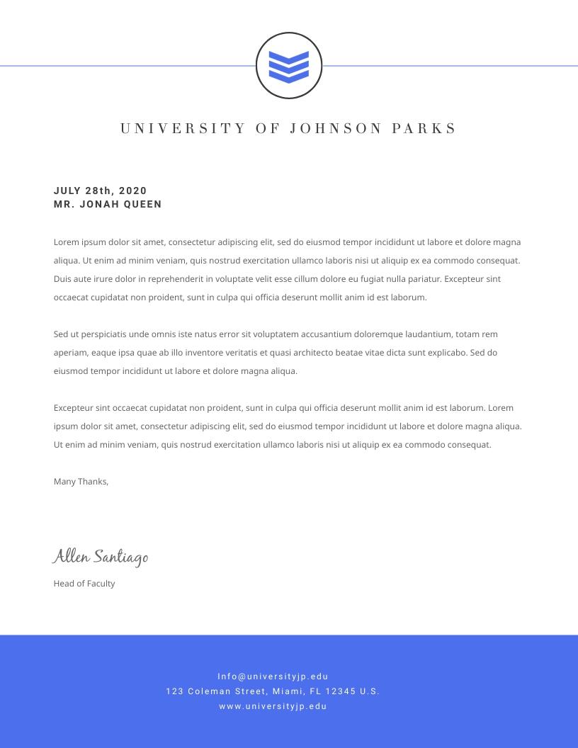 University School - Letterhead Template