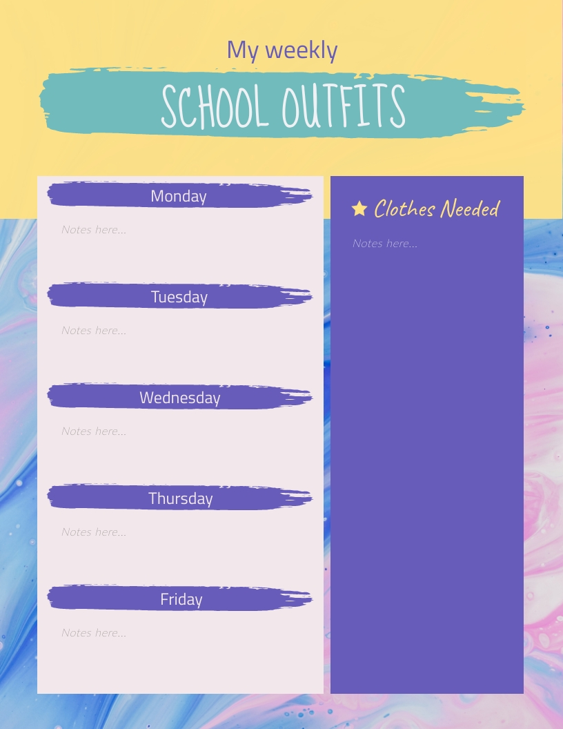 School Outfits Weekly Planner Template