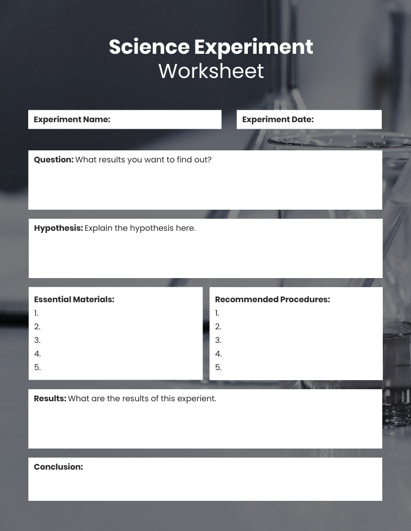 Science Experiment Worksheet Template
