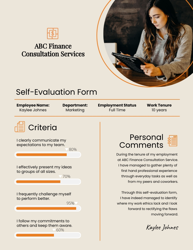Self-Evaluation - Performance Review Template