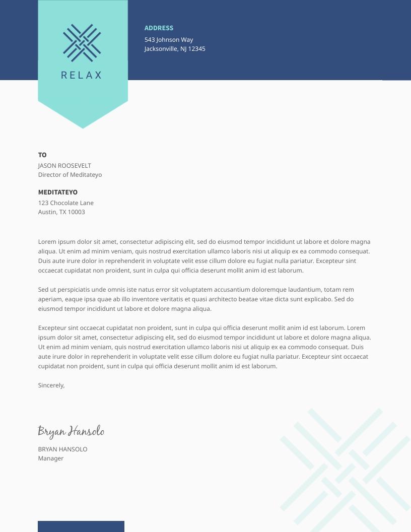 Teal Simple - Letterhead Template