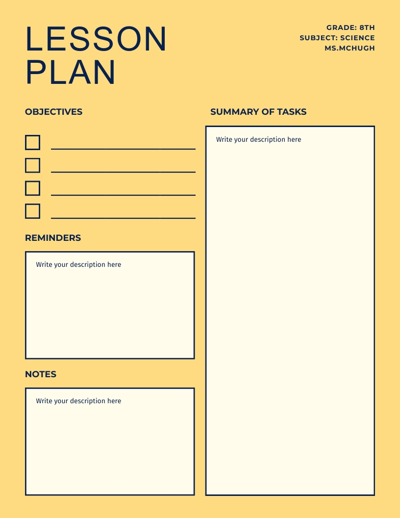 Simple and Clean Yellow Tone - Lesson Plan Template