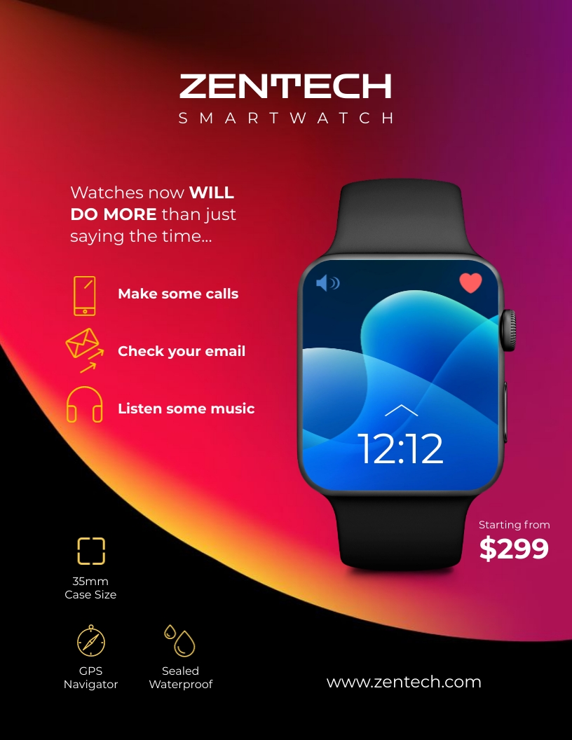 Smartwatch Product Sell Sheet Template