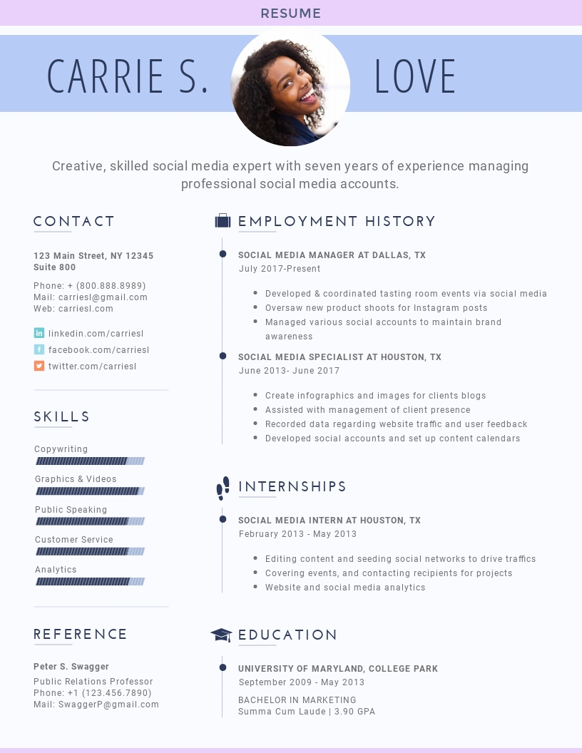 social media specialist resume template