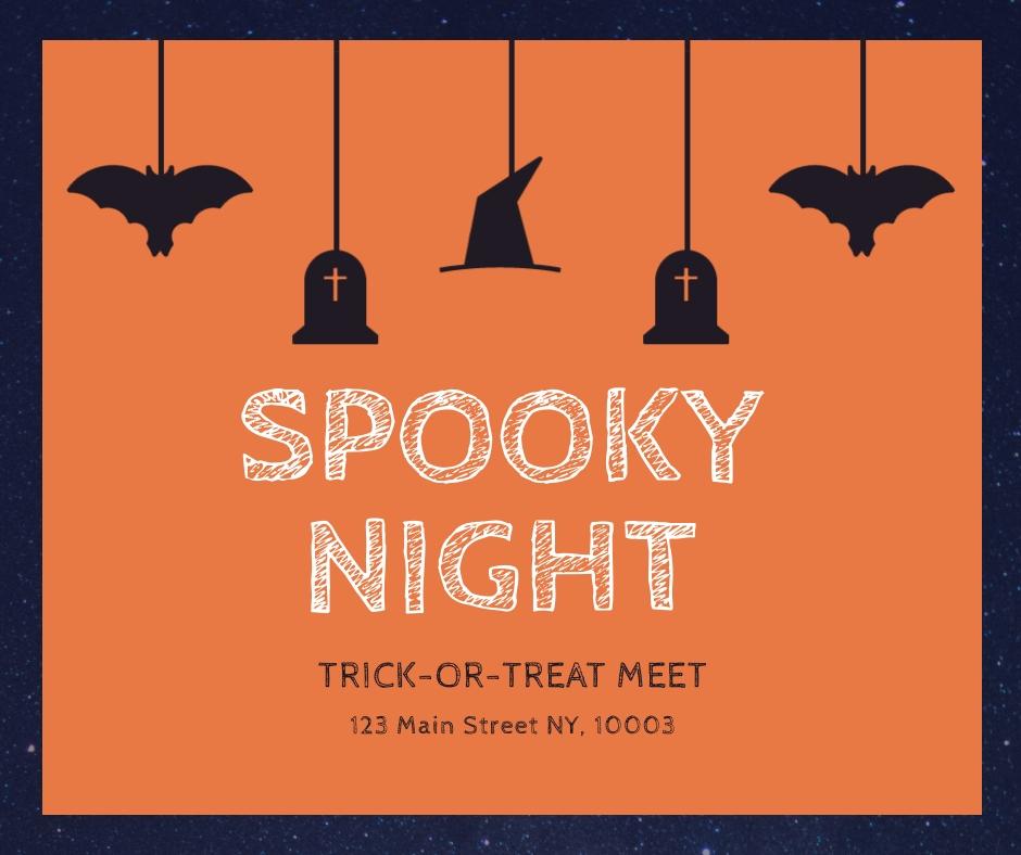 Spooky Night Halloween Facebook Post Template