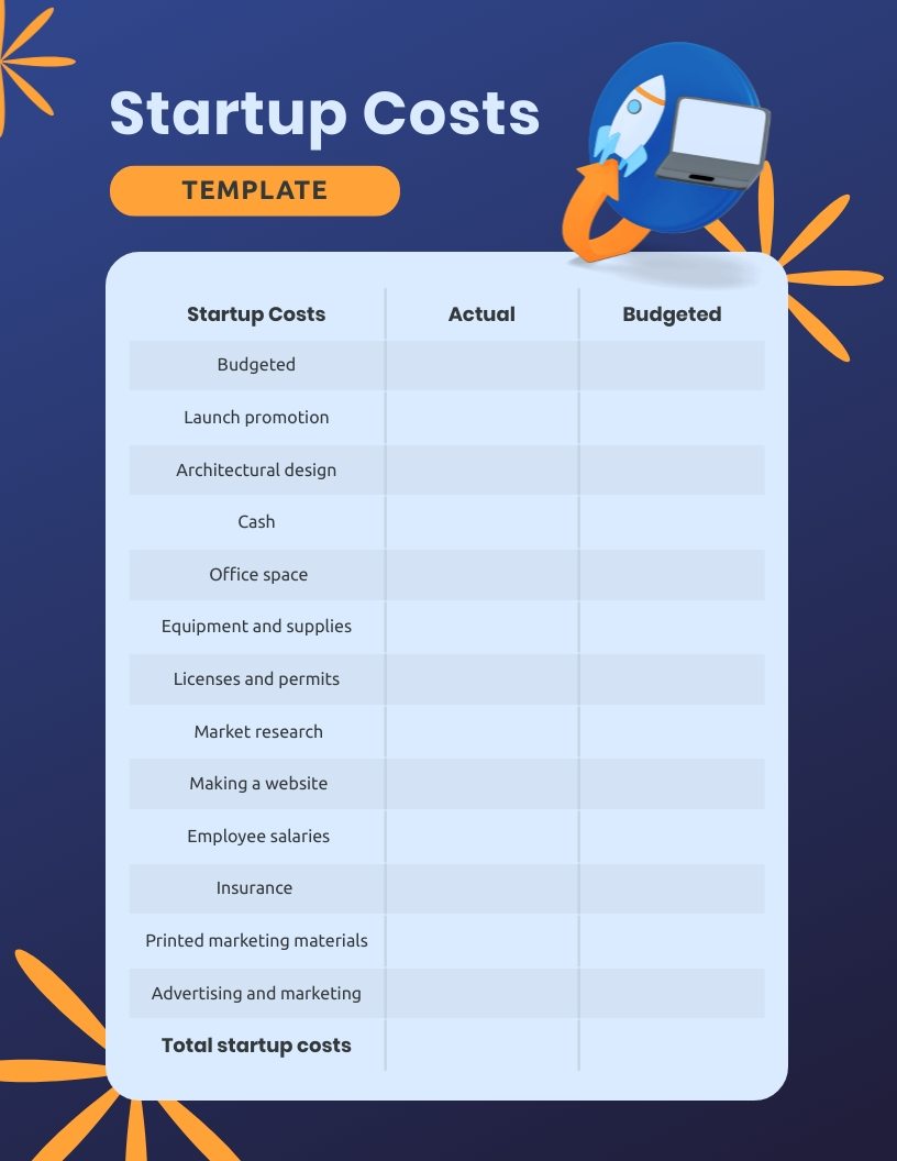 Startup Costs Worksheet Template