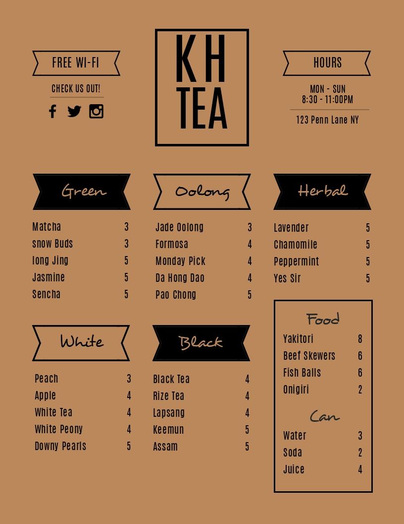 Tea - Menu Template