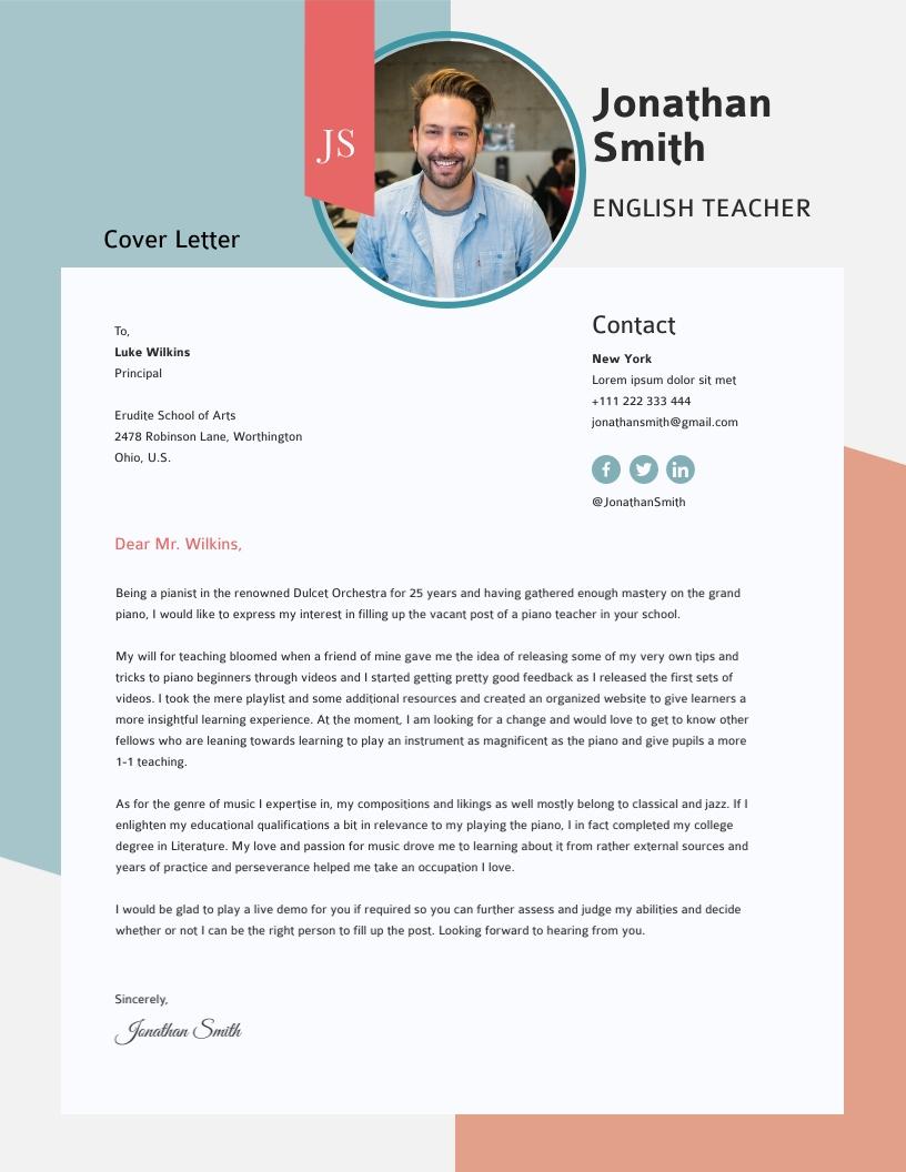Teacher - Cover Letter Template